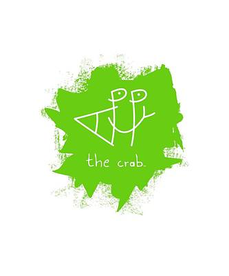 Mixed Media - Happy The Crab - Green by Chris N Rohrbach