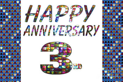 Painting - Happy Third 3rd Anniversary Celebrations Design On Greeting Cards T-shirts Pillows Curtains Phone Ca by Navin Joshi