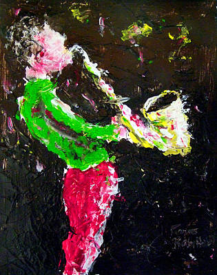 Musician Painting - Happy Time The Saxophonist by Pierre Robillard
