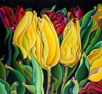 Painting - Happy-time Yellow Three-lips by Amy Ferrari