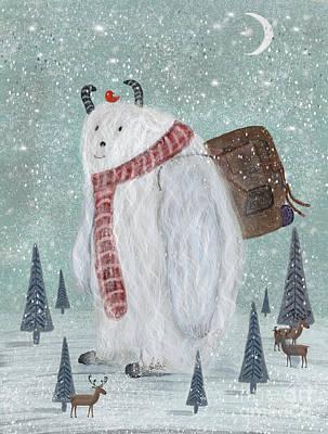 Snowman Painting - Happy Trails by Bleu Bri