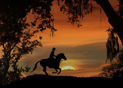 Loping Photograph - Happy Trails Cowboy Riding Off Into The Sunset by Stephanie Laird