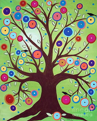 Folk Art Flowers Painting - Happy Tree by Karla Gerard