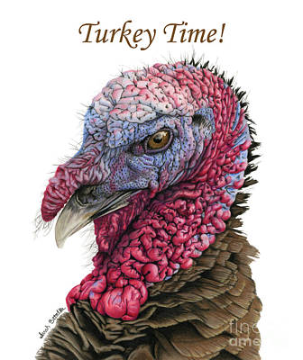 Turkey Painting - Turkey Time- Thanksgiving Cards by Sarah Batalka