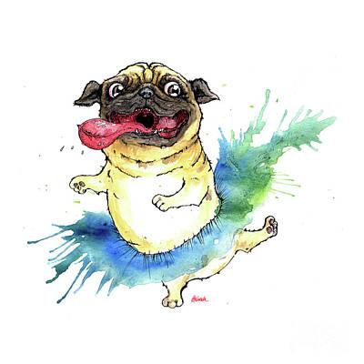 Painting - Happy Tutu Pug by Angel Ciesniarska