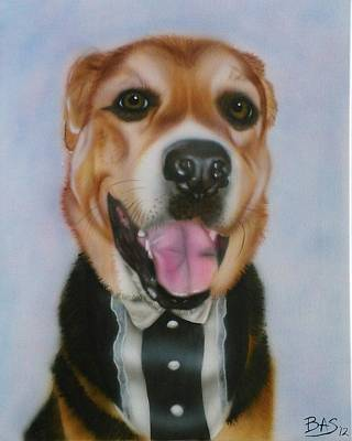 Painting - Happy Tuxedo Dog by Bas Hollander