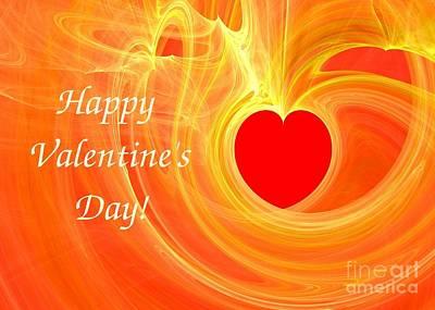 Digital Art - Happy Valentine Day Fractal Design Greeting Card by Yali Shi