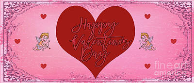 Digital Art - Happy Valentine's Day Card 1 by Mary Bellew