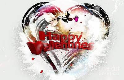 Decorating Mixed Media - Happy Valentine's  by LDS Dya