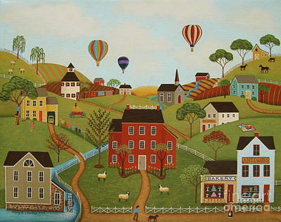 Hot Air Balloon Painting - Happy Valley by Mary Charles