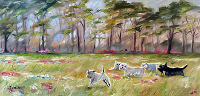 Scottish Dog Painting - Happy Wanderers by Mary Sparrow