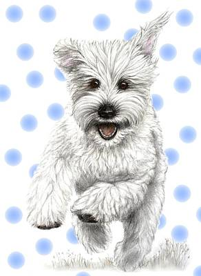 Art Print featuring the drawing Happy Blue Polka Dots Doggy by Heidi Kriel