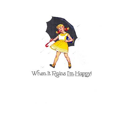 Digital Art - Happy When It Rains  by Reinvintaged