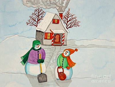 Snowwoman Painting - Happy Winter Home by Norma Appleton