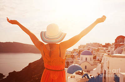Dress Photograph - Happy Woman Enjoying Her Holidays On Santorini by Michal Bednarek