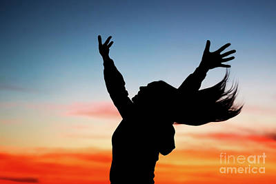 Photograph - Happy Woman Enjoying Sunset by Anna Om