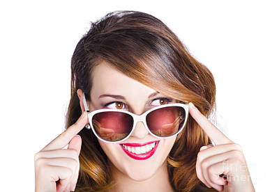 Peer Photograph - Happy Woman In Fashionable Eyewear by Jorgo Photography - Wall Art Gallery