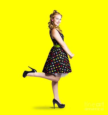 Polkadots Photograph - Happy Woman In Retro Dress by Jorgo Photography - Wall Art Gallery