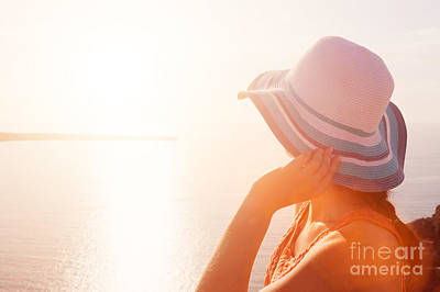 Photograph - Happy Woman In Sun Hat Enjoying The Sea View by Michal Bednarek