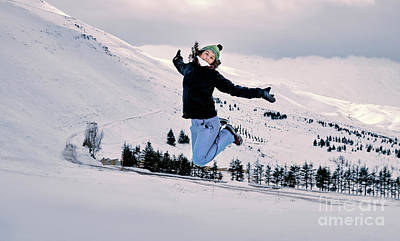 Photograph - Happy Woman Jumping In The Snow by Anna Om