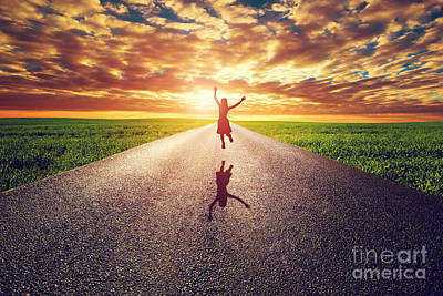 Asphalt Photograph - Happy Woman Jumping On Long Straight Road by Michal Bednarek
