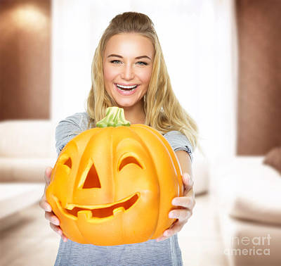Photograph - Happy Woman On Halloween Party by Anna Om