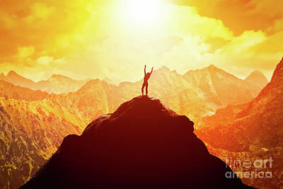 Photograph - Happy Woman On Peak Of The Mountain Enjoying The Success, Freedom And Bright Future. by Michal Bednarek