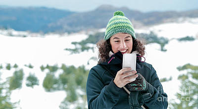 Photograph - Happy Woman Using Phone In The Mountains by Anna Om
