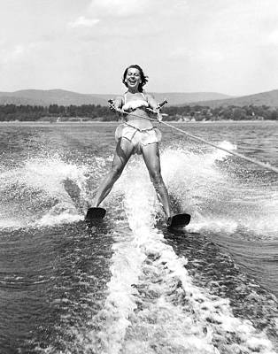 One Person Only Photograph - Happy Woman Water Skier by Underwood Archives