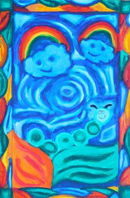 Happy Worm Happy Skies Original by Elizabeth Dawson