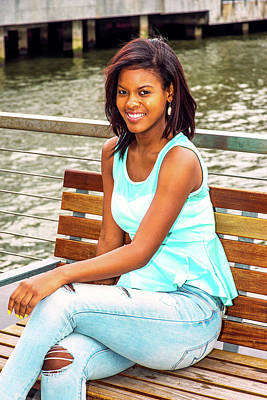 Photograph - Happy Young African American Woman Relaxing By River In New York by Alexander Image