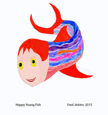 Friendly Digital Art - Happy Young Fish by Fred Jinkins