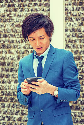 Photograph - Happy Young Man Texting 15041410 by Alexander Image