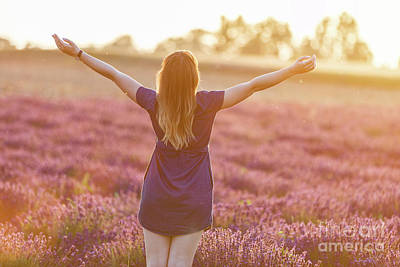Photograph - Happy Young Woman On Lavender Field At Sunset by Michal Bednarek