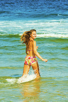 Photograph - Happy Young Woman Wading On Water. by Alexander Image