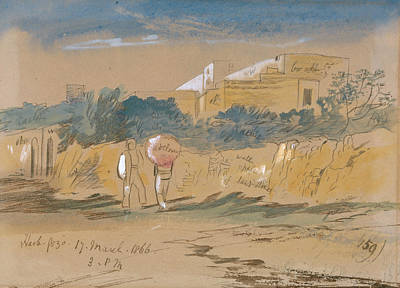 Drawing - Harb. Gozo by Edward Lear