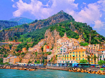 Harbor At Amalfi Art Print