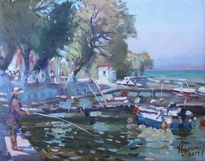 Waterscape Painting - Harbor At Dilesi Greece by Ylli Haruni