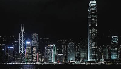 Photograph - Harbor At Night. Hong Kong 2013 by Chris Honeyman