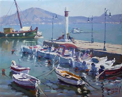 Athens Painting - Harbor At Oropos Athens by Ylli Haruni