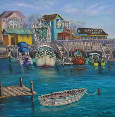 Shrimp Boat Painting - Harbor Boats Coastal Painting Of Southport North Carolina by Amber Palomares