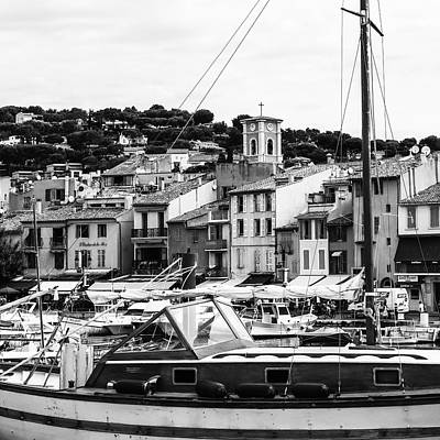 Harbor Boats In The South Of France - Square Art Print by Georgia Fowler