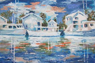 Painting - Harbor  Boats by Tony Caviston