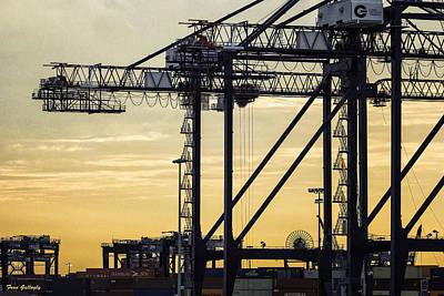 Photograph - Harbor Cranes At Sunset by Fran Gallogly