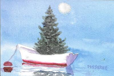 Painting - Harbor Dory Christmas   by Roseann Meserve