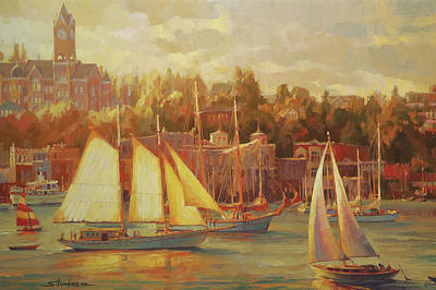 Peace Tower Wall Art - Painting - Harbor Faire by Steve Henderson