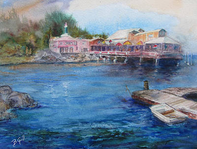 Monterey Wharf Painting - Harbor House by Barbara Gill