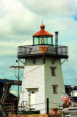 Photograph - Harbor Light At Green Bay Mi Yacht Club by Jeff Kurtz