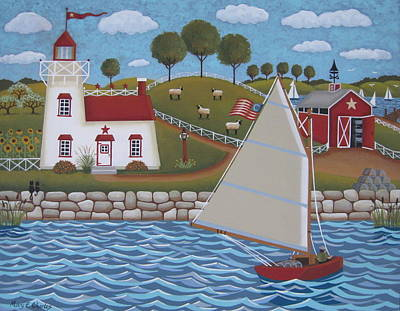 Folk Art Painting - Harbor Light by Mary Charles
