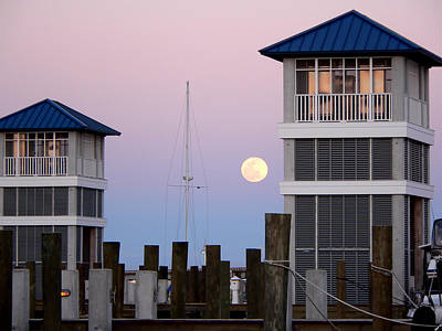 Photograph - Harbor Moon by Kathy K McClellan